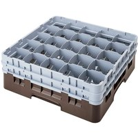 Cambro 25S900167 Camrack 9 3/8 inch High Customizable Brown 25 Compartment Glass Rack