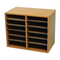Safco 9420MO Oak 12-Section Wood / Fiberboard File Organizer - 19 5/8 inch x 11 7/8 inch x 16 1/8 inch
