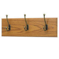 Safco 4216MO Medium Oak Wood Wall Rack with 3 Double-Hooks