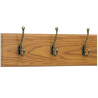 Safco 4216MO 18 inch Medium Oak Wood Wall Rack with 3 Double-Hooks