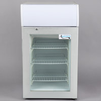 Avantco CFM2LB White Countertop Freezer with Swing Door and Top Lit Graphic