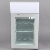 Avantco CFM2LB White Countertop Freezer with Swing Door and Top Lit Graphic