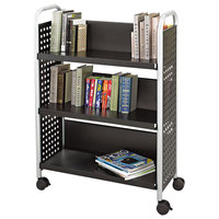 Safco 5336BL Scoot 33 inch x 14 1/4 inch x 44 1/4 inch Black 3-Shelf Book Cart