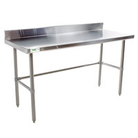 "Regency 30"" x 48"" 16-Gauge 304 Stainless Steel Commercial Open Base Work Table with 4"" Backsplash"