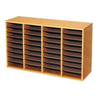 Safco 9424MO Medium Oak 36-Section Wood / Laminate File Organizer - 39 1/4 inch x 11 3/4 inch x 24 inch