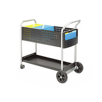 Safco 5239BL Scoot 22 1/2 inch x 39 1/2 inch x 40 3/4 inch Black and Silver 1-Shelf Mail Cart