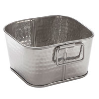 American Metalcraft STH6 6 inch x 3 inch Hammered Stainless Steel Square Beverage Tub