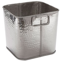 American Metalcraft STH8 8 inch x 7 inch Hammered Stainless Steel Square Beverage Tub