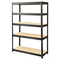 Safco 6246BL 48 inch x 18 inch x 72 inch Black 5 Shelf Boltless Steel / Particleboard Shelving