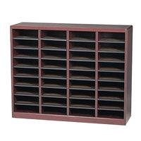 Safco 9321MH E-Z Stor Mahogany 36-Section Wood / Fiberboard File Organizer - 40 inch x 11 3/4 inch x 32 1/2 inch