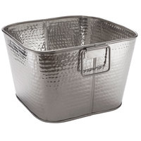 American Metalcraft STH14 14 inch x 8 inch Hammered Stainless Steel Square Beverage Tub