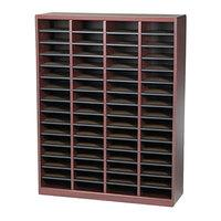 Safco 9331MH E-Z Stor Mahogany 60-Section Wood / Fiberboard File Organizer - 40 inch x 11 3/4 inch x 52 1/4 inch