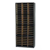 Safco 7131BL Black 72-Section Steel / Fiberboard File Organizer - 32 1/4 inch x 13 1/2 inch x 75 inch