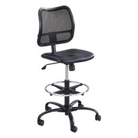 Safco 3395BV Vue Black Mesh Back Extended Height Stool with Padded Vinyl Seat