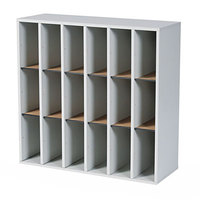 Safco 7765GR 33 3/4 inch x 12 inch x 32 3/4 inch Gray / Black Wood File Organizer with 18 Sections
