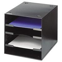 Safco 3112BL 10 inch x 12 inch x 10 inch Black 4 Section Steel Desktop Sorter