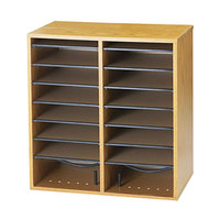 Safco 9422MO Medium Oak 16-Section Wood / Laminate File and CD Organizer - 19 1/2 inch x 11 3/4 inch x 21 inch