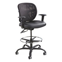 Safco 3394BV Vue Black Heavy-Duty Mesh Back Extended Height Stool with Padded Vinyl Seat