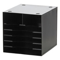 Safco 3111BL 12 inch x 12 inch x 11 inch Black 7 Section Steel Desktop Sorter