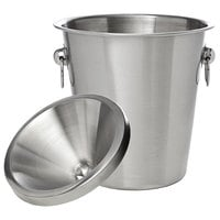 Franmara 9292SET Brushed Stainless Steel Wine Tasting Spittoon with Lid