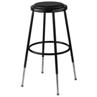 National Public Seating 6424H-10 25 inch - 33 inch Black Adjustable Round Padded Lab Stool