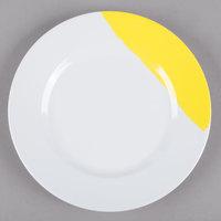 GET BF-7-W/Y Bold 7 inch White / Yellow Wide Rim Round Melamine Plate - 48/Case