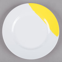 GET BF-9-W/Y Bold 9 inch White / Yellow Wide Rim Round Melamine Plate - 24/Case
