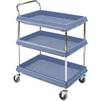 Metro BC2636-3DMB Slate Blue Utility Cart with Three Deep Ledge Shelves and Microban Protection - 27 inch x 40 inch