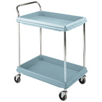 Metro BC2636-2DMB Slate Blue Utility Cart with Two Deep Ledge Shelves and Microban Protection - 27 inch x 40 inch