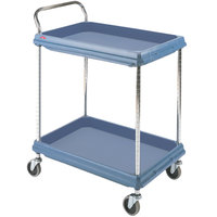 Metro BC2636-2DMB Slate Blue Utility Cart with Two Deep Ledge Shelves and Microban Protection - 38 3/4 inch x 27 inch