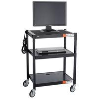 Safco 8932BL Black Steel Adjustable A/V Cart