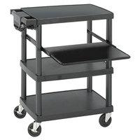 Safco 8929BL Black A/V Cart with Keyboard Shelf