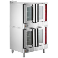 Cooking Performance Group FGC200L Double Deck Full Size Liquid Propane Convection Oven with Legs - 108,000 BTU
