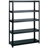 Safco 5244BL Black 4 Shelf Commercial Steel Boltless Shelving Unit - 48 inch x 24 inch x 72 inch