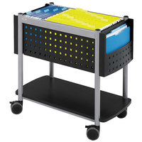 Safco 5373BL Scoot 28 inch x 14 3/4 inch x 26 inch Black with Silver Open Top File Cart