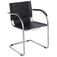 Safco 3457BL Flaunt Black Leather Guest Chair