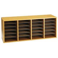 Safco 9423MO 39 1/4 inch x 11 3/4 inch x 16 1/4 inch Oak Finish 24 Compartment File Organizer