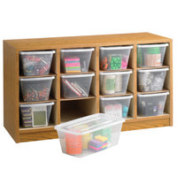Safco 9452MO 34 inch x 13 inch x 19 inch Modular Oak Wood / Clear Plastic 12 Section Supply Organizer with Bins