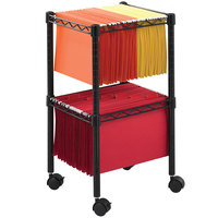 Safco 5221BL 15 1/2 inch x 14 inch x 27 1/2 inch Black Two-Tier Wire File Cart