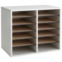 Safco 9420GR 19 1/2 inch x 12 inch x 16 inch Gray 12 Compartment File Organizer