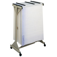 Safco 5060 Sand Steel Sheet File Mobile Rack with 18 Hanging Clamp Spaces - 43 3/4 inch x 20 1/2 inch x 51 inch