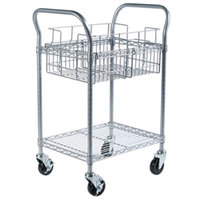 Safco 5235GR 18 3/4 inch x 26 3/4 inch Metallic Gray Two-Shelf Wire Mail Cart