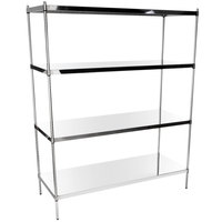 Regency 24 inch x 60 inch NSF Stainless Steel Solid Shelf Kit with 74 inch Posts