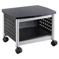 Safco 1855BL Black / Silver Under Desk Printer Stand - 20 1/4 inch x 16 1/2 inch x 14 1/2 inch