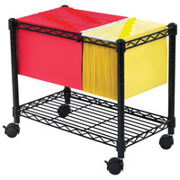 Safco 5201BL 24 inch x 14 inch x 20 1/2 inch Black One-Shelf Wire File Cart