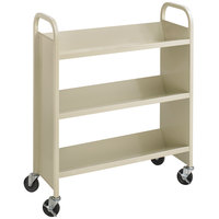 Safco 5358SA 36 inch x 14 1/2 inch Sand Three-Shelf Book Cart
