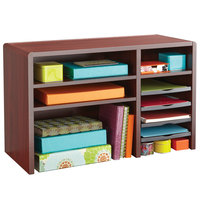Safco 3692MH 29 inch x 12 inch x 18 inch Mahogany 9 Section Wood Laminate Desktop Organizer