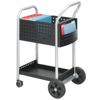 Safco 5238BL 22 inch x 27 inch Black and Silver One Shelf Mail Cart