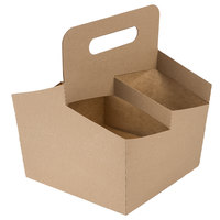 Southern Champion 2788 4 Cup Kraft Pop-Up Drink Carrier - 50/Pack