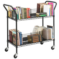 Safco 5333BL 44 inch x 18 3/4 inch Black Four-Shelf Wire Book Cart